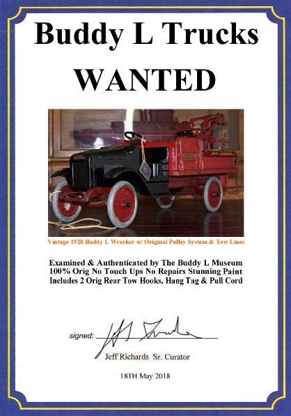 buddy l trucks price guide and information, free buddy toys appraisals, rare buddy l trucks for sale, buddy l wrecker, antique pressed steel toys appraisals, buddy l toys for sale, buddy l truck values