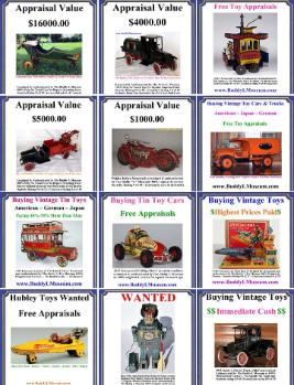 Buying Vintage Toys ~ Free Toy Appraisal ~ Buying Antique Toys ~ Buddy L Toy Museum helping collectors buying and selling vintage toys over half a century.